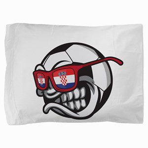 Angry Hrvatska Soccer Ball with Flag o Pillow Sham