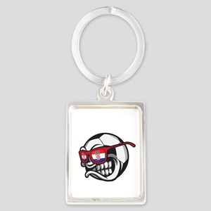 Angry Hrvatska Soccer Ball with Flag of Keychains