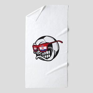 Angry Hrvatska Soccer Ball with Flag o Beach Towel