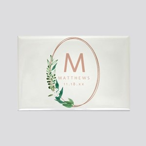 Rose Gold Oval Monogram Magnets