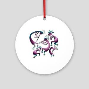Five Purple Metalic Kokopelli Ornament (Round)