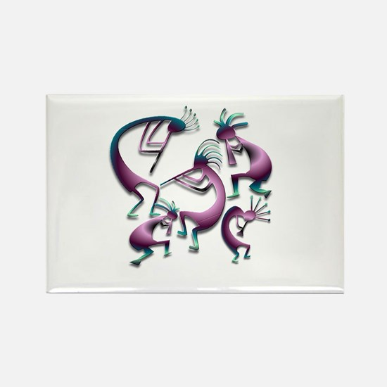 Five Purple Metalic Kokopelli Rectangle Magnet
