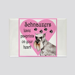 Schnauzer Pawprints Heart Rectangle Magnet
