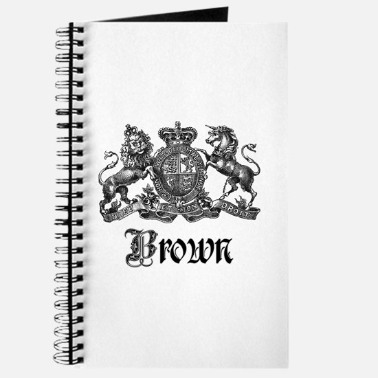Brown Vintage Crest Family Name Journal