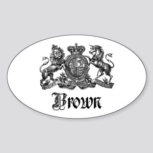 Brown Vintage Crest Family Name Oval Sticker