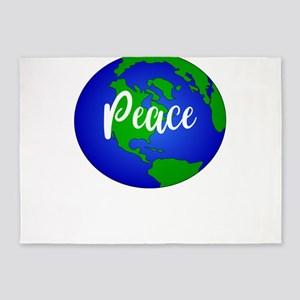 Save the Planet Peace On Earth 5'x7'Area Rug