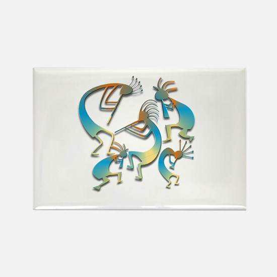 Five Cool Blue Kokopelli Rectangle Magnet