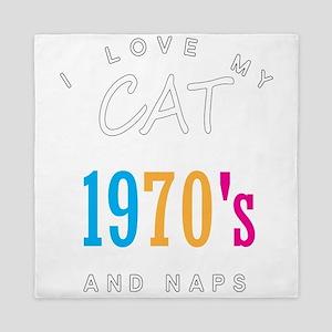 I Love My Cat 70s Retro And Naps Queen Duvet