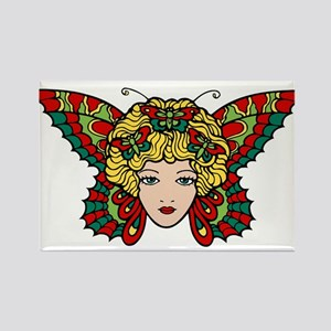 Lady Butterfly Rectangle Magnet