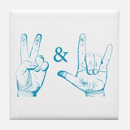 Peace & Love Sign Tile Coaster