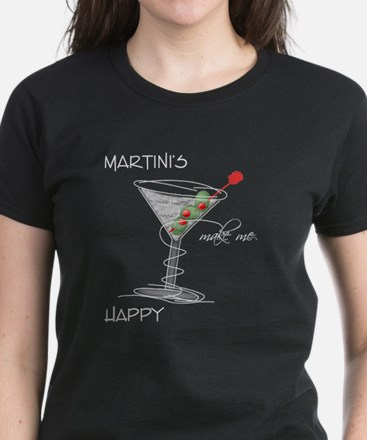 Martinis Make Me Happy Women's Dark T-Shirt