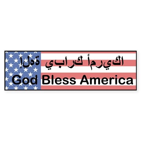 Engish - Arabic God Bless America Bumper Sticker