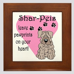 Shar Pei Pawprints Framed Tile