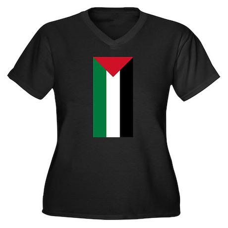 Palestinian Flag Women's Plus Size V-Neck Dark T-S