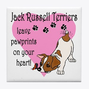 Jack Russell Terrier Pawprints Tile Coaster