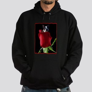 Red Rose Boston Terrier Hoodie (dark)