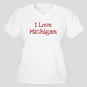 I love Michigan Women's Plus Size V-Neck T-Shirt