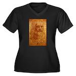 Self Portrait Women's Plus Size V-Neck Dark T-Shir