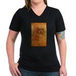 Self Portrait Women's V-Neck Dark T-Shirt