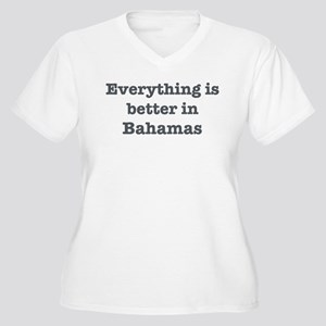 Better in Bahamas Women's Plus Size V-Neck T-Shirt
