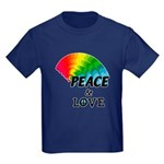 Rainbow Peace Love Kids Dark T-Shirt