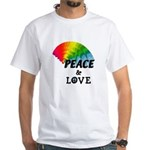 Rainbow Peace Love White T-Shirt