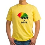 Rainbow Peace Love Yellow T-Shirt