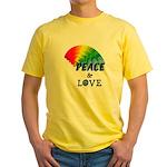 Rainbow Peace Love Yellow T-Shirt