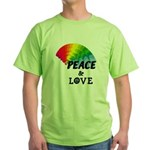 Rainbow Peace Love Green T-Shirt