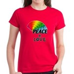 Rainbow Peace Love Women's Dark T-Shirt
