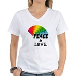 Rainbow Peace Love Women's V-Neck T-Shirt