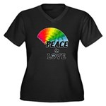 Rainbow Peac Women's Plus Size V-Neck Dark T-Shirt