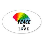 Rainbow Peace Love Sticker (Oval 50 pk)