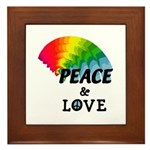 Rainbow Peace Love Framed Tile