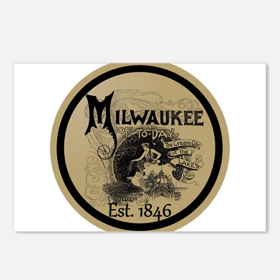 milwaukee slogan - cream Postcards (Package of 8)