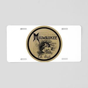 milwaukee slogan - cream ci Aluminum License Plate