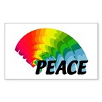 Rainbow Peace Sticker (Rectangle 50 pk)
