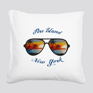 New York - Fire Island Square Canvas Pillow