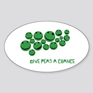 Give Peas A Chance Oval Sticker