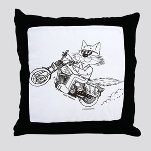 Motorcycle Cat Throw Pillow