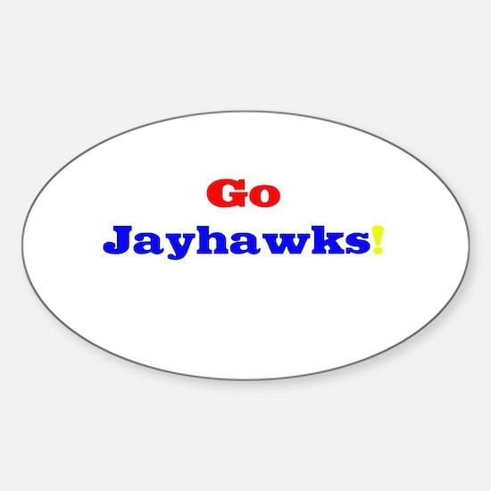 Go Jayhawks! Oval Decal