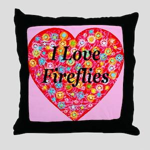 I Love Fireflies Throw Pillow