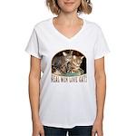 Real Men Love Cats Women's V-Neck T-Shirt