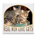 Real Men Love Cats Tile Coaster