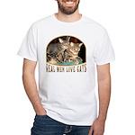 Real Men Love Cats White T-Shirt