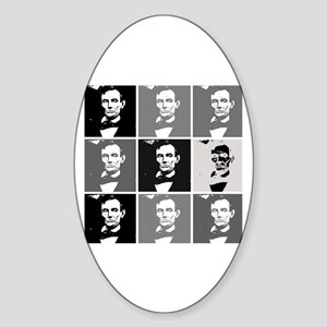 Black and White Pop Art Lincoln Oval Sticker