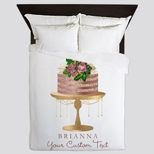 Rose Gold Personalized Cake Queen Duvet