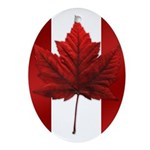 Canadian Flag Art Maple Leaf Oval Ornament