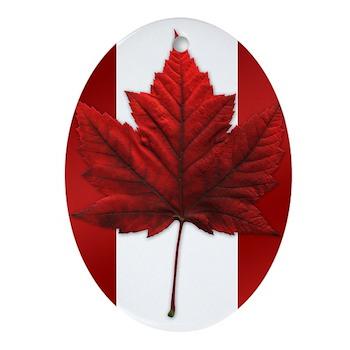Canadian Flag Art Maple Leaf Oval Ornament