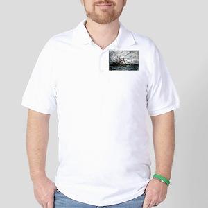 shrimp boat painting nautical Golf Shirt